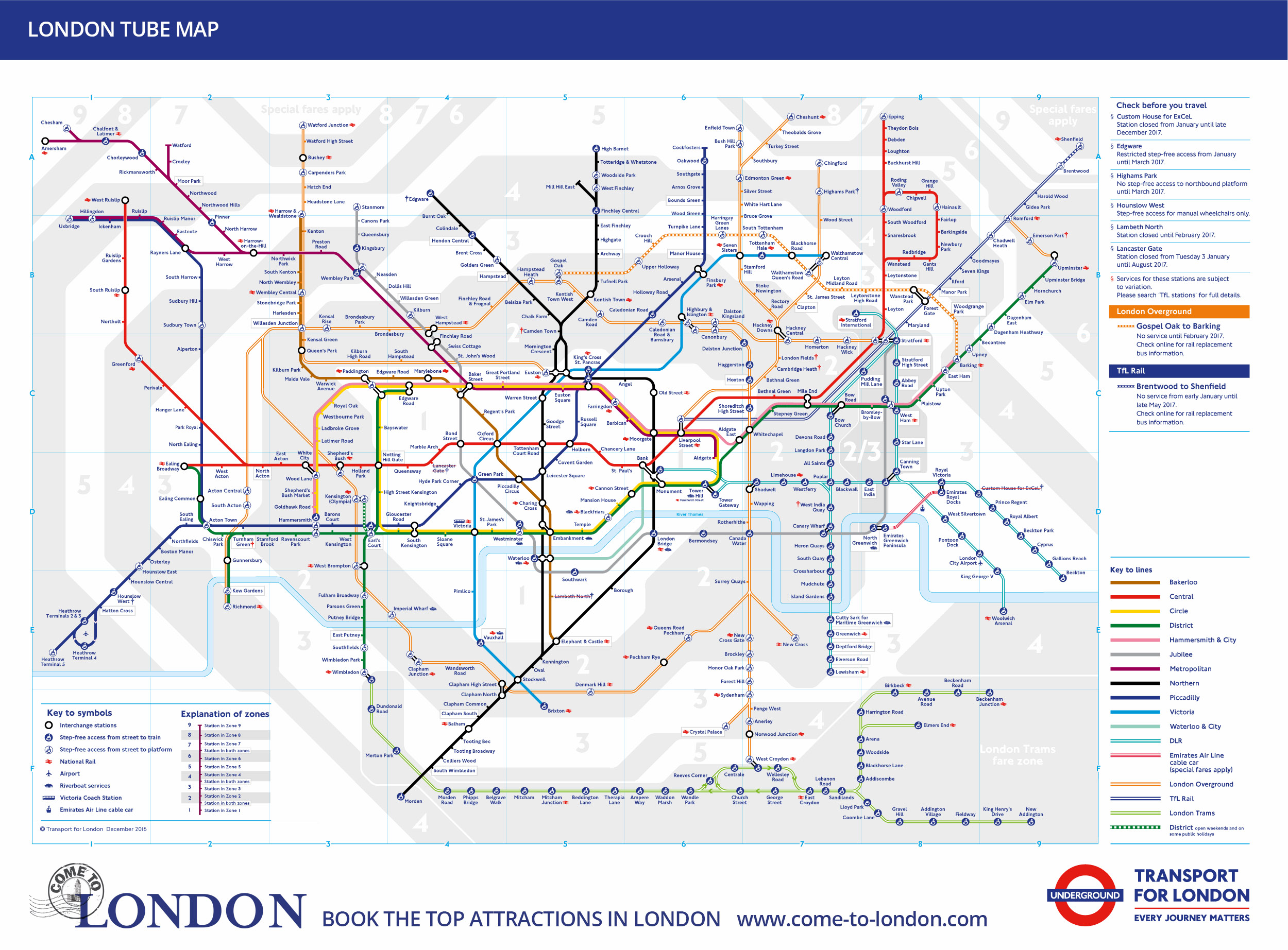 use the famous london tube map to navigate the 12 lines each of which has its own distinctive colour black for instance is the northern line